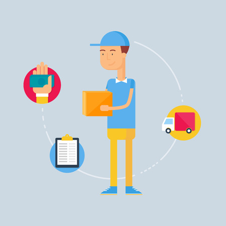 delivery man: Character - courier, delivery concept. Vector illustration, flat style