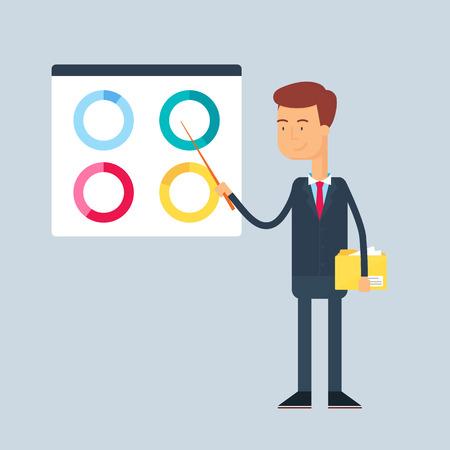 set of businessman: Business presentation. Vector illustration, flat style Illustration