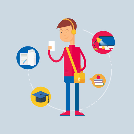 Carácter - estudiante, concepto de la educación. Ilustración del vector, estilo plano