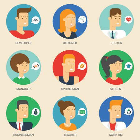 Set of avatars: designer, teacher, scientist, sportsman, businessman, student, developer, manager, doctor. Vector illustration, flat icons. Characters for web