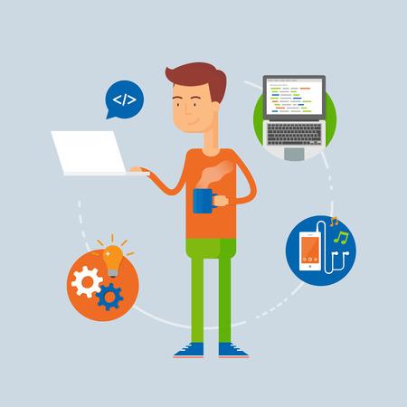 programmer: Character - programmer, web development concept. Vector illustration, flat style