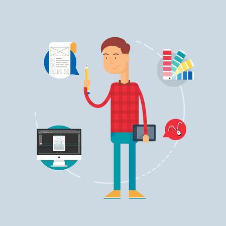 affable: Character - designer, web development concept. Vector illustration, flat style Illustration