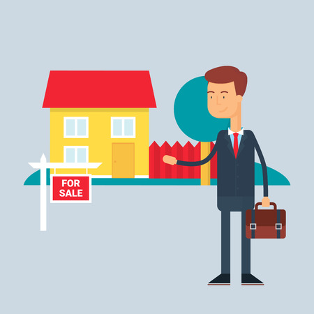 seller: Character - real estate agent. Vector illustration, flat style Illustration