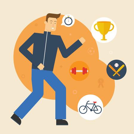 Vector illustration of a running sportsman. Flat style Vector