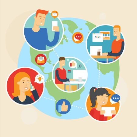 woman phone: Social network and teamwork concept for web and infographic. Flat style vector illustration