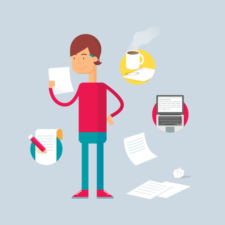 copywriter: Character - writer. Vector illustration, flat style