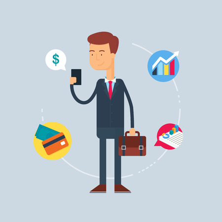 business briefcase: Character - businessman. Vector illustration, flat style