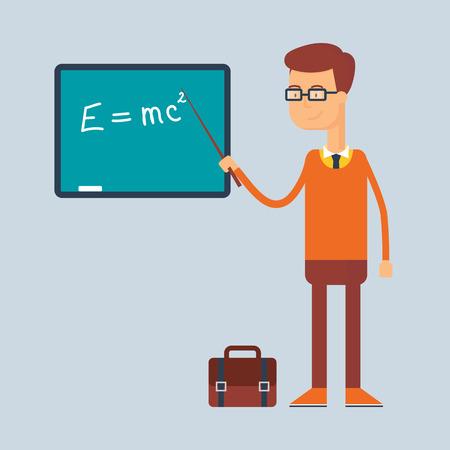 Carácter - profesor, concepto de la educación. Ilustración del vector, estilo plano