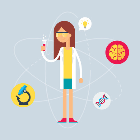 female scientist: Character - scientist. Vector illustration, flat style