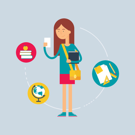 young teen girl: Character - student, education concept. Vector illustration, flat style Illustration