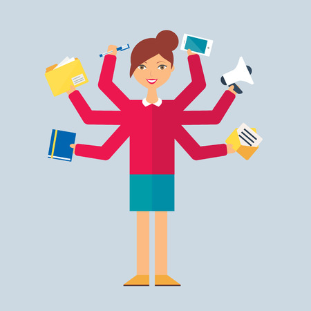Multitasking character: manager. Flat style, vector illustration