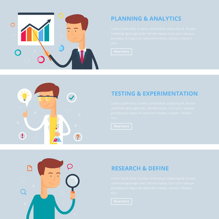experimentation: Banners for web: planning and analytics, testing and experimentation, research and define. Flat style, vector illustration with characters Illustration
