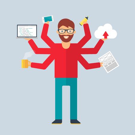 geek: Multitasking character: programmer. Flat style, vector illustration