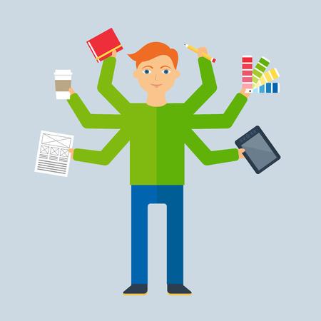 Multitasking character: designer. Flat style, vector illustration
