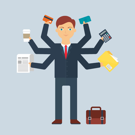 multitasking: Multitasking character: businessman. Flat style, vector illustration