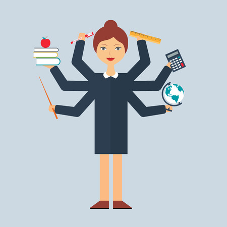 multitasking: Multitasking character: teacher. Flat style, vector illustration