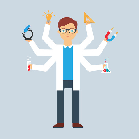 multitasking: Multitasking character: scientist. Flat style, vector illustration Illustration