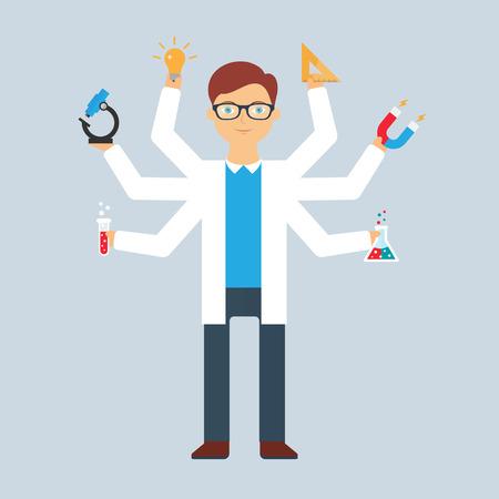 test tube: Multitasking character: scientist. Flat style, vector illustration Illustration