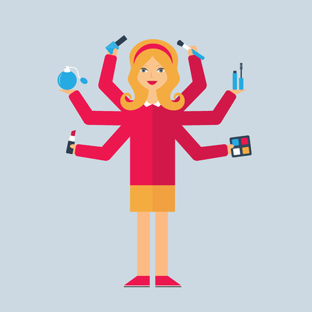 cosmetologist: Multitasking character: cosmetologist. Flat style, vector illustration