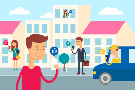 Social network concept - people in the city are using their smartphones. Flat style vector illustration for web Vettoriali