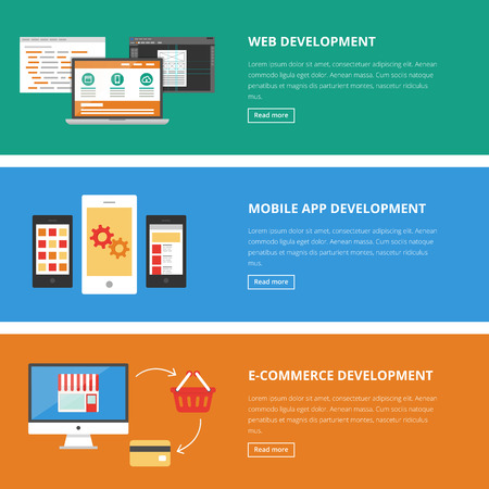 Banners for web: website, mobile app and e-commerce development. Vector illustration, flat style