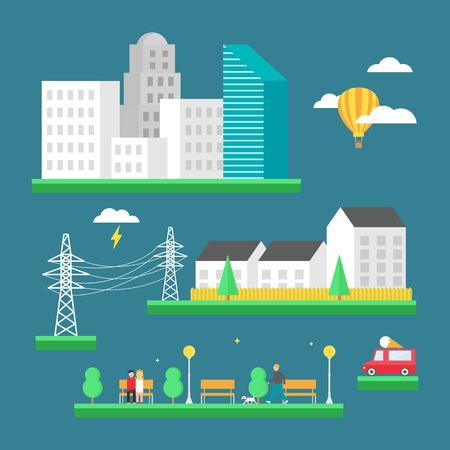 centre d affaires: Paysage urbain: centre d'affaires, gratte-ciel, les maisons, parc. Vector illustration, le style plat Illustration
