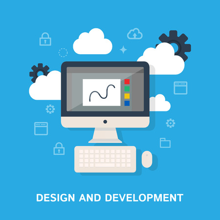 development process: Design and development. Vector illustration, flat style