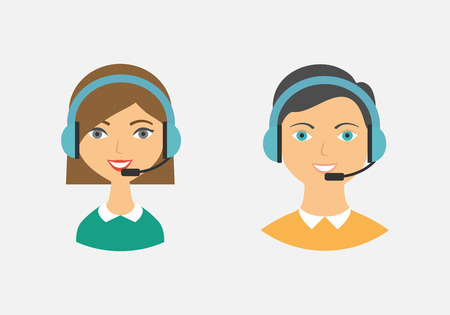 in center: Call center operators, female and male avatar icons. Vector illustration, flat style
