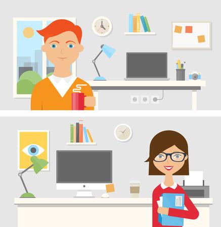 Werkplekken met medewerkers, vector illustratie voor web