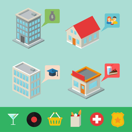 Isometric buildings with pointers for map, infographic elements Vector
