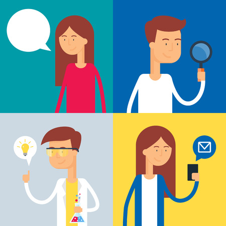 Flat vector illustration of people: speak, search, idea, message