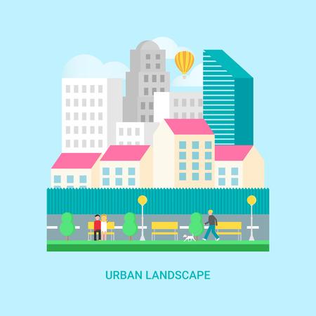 centre d affaires: Paysage urbain: centre d'affaires, gratte-ciel, les maisons, parc, les gens marcher. Vector illustration, le style plat Illustration
