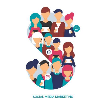 ソーシャル メディア マーケティングの概念。タブレットやスマート フォンを使用して人々 のベクトル イラスト。フラット スタイル