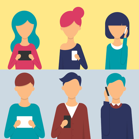 smart girl: Set of people with tablets and smartphones in their hands. Vector illustration, flat style