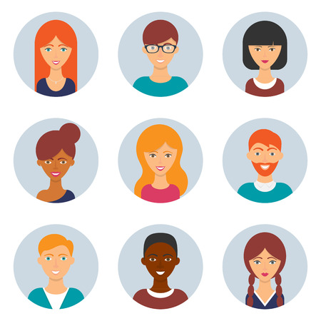 Set van avatars. Vector illustratie, vlakke pictogrammen. Mannelijke en vrouwelijke personages voor web