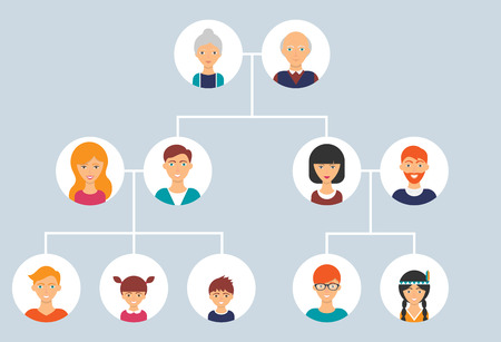 abstract family: Family tree. Vector illustration, flat style