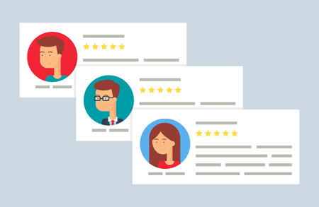 relationship management: User reviews flat style vector illustration