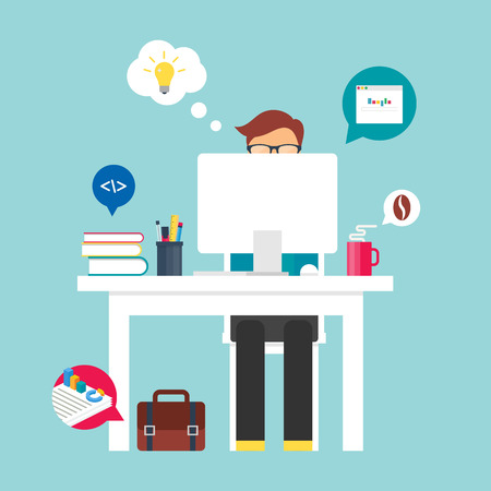 self development: Man sitting at the desktop and working on the computer. Vector illustration for web, flat style