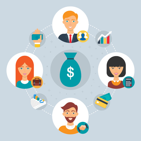accountant: Business concept - collaboration of professionals. Vector illustration, flat style
