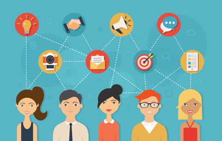 sexo femenino: Red social y el concepto de trabajo en equipo para la web y la infograf�a. Estilo plano ilustraci�n vectorial