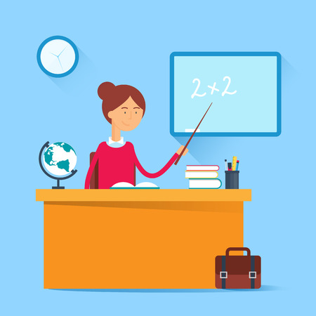 clock cartoon: Education concept - teacher sitting at the table in the classroom. Vector illustration, flat style