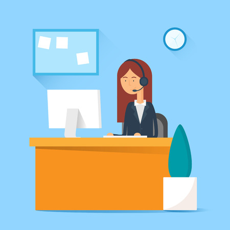 call center female: Call center operator sitting at the table in the office. Vector illustration, flat style