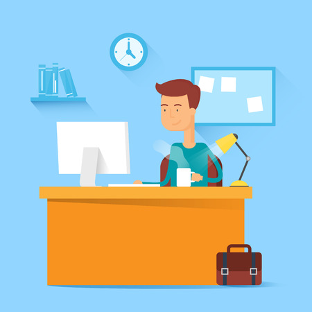 Man sitting at the table and working on the computer in the office. Vector illustration, flat style