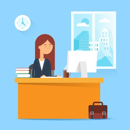 woman computer: Business concept - woman sitting at the table and working on the computer in the office. Vector illustration, flat style Illustration