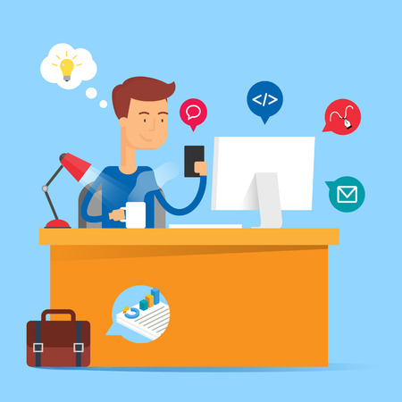 developer: Technology concept - developer sitting at the table and working on the computer in the office. Vector illustration, flat style