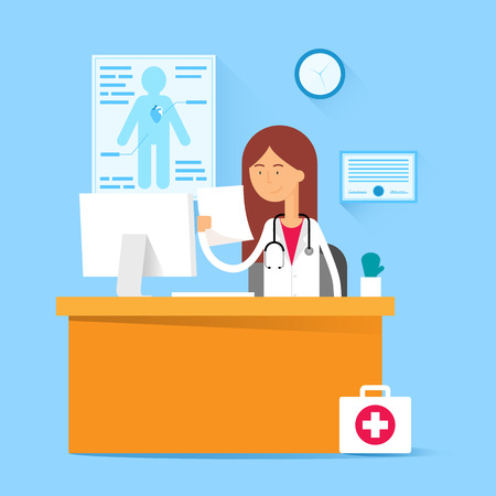 medical doctor: Medical concept - doctor sitting at the table in the office. Vector illustration, flat style