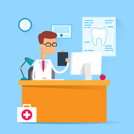 computer desk: Medical concept - dentist sitting at the table in his office. Vector illustration, flat style