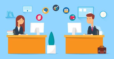 operarios trabajando: Colaboración en equipo, concepto de negocio. Ilustración del vector, estilo plano Vectores