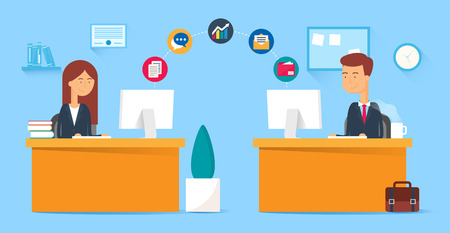 work on computer: Team collaboration, business concept. Vector illustration, flat style Illustration