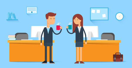 two men talking: Coffee break, male and female characters in the office, flat style Illustration